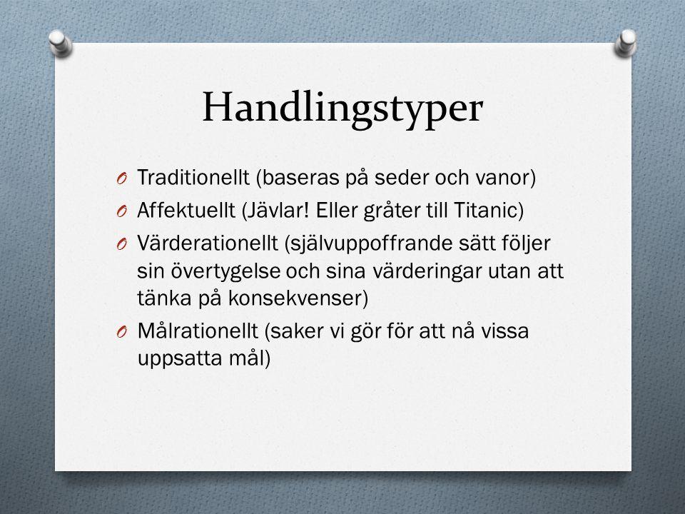 Handlingstyper Traditionellt (baseras på seder och vanor)