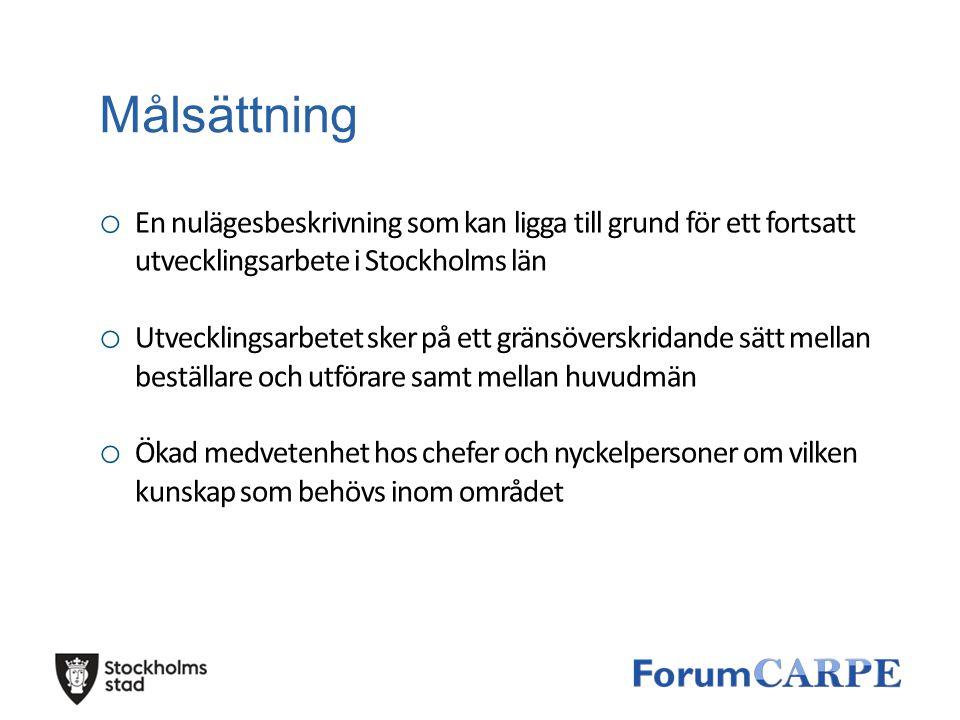 Målsättning En nulägesbeskrivning som kan ligga till grund för ett fortsatt utvecklingsarbete i Stockholms län.