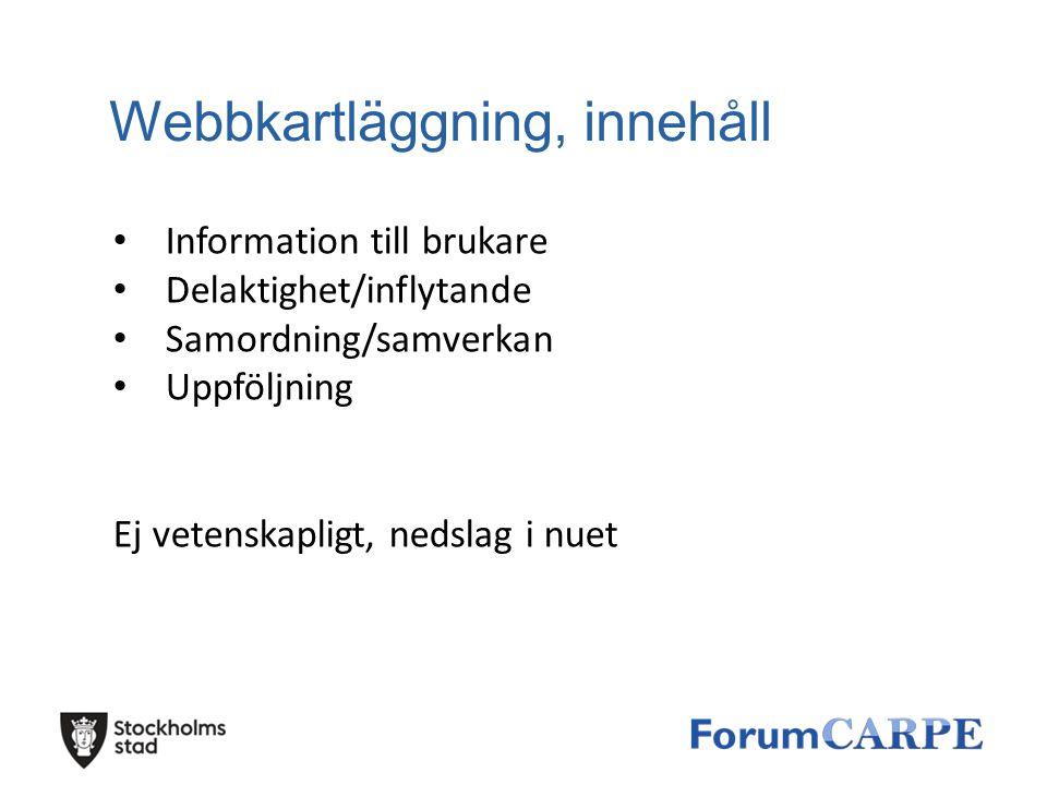 Webbkartläggning, innehåll