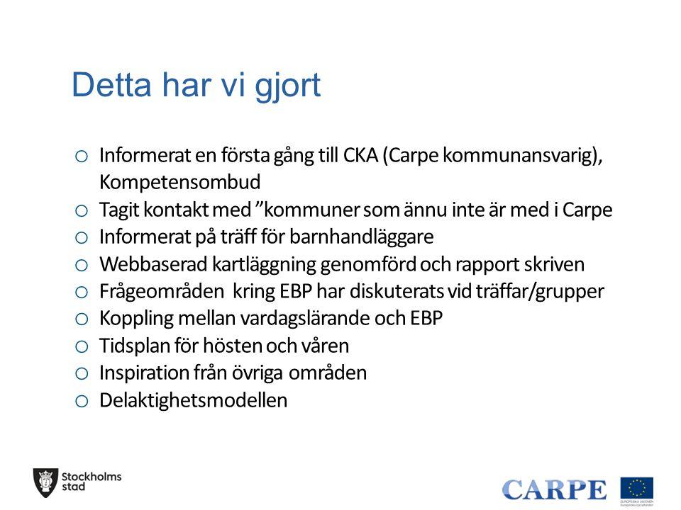 Detta har vi gjort Informerat en första gång till CKA (Carpe kommunansvarig), Kompetensombud.