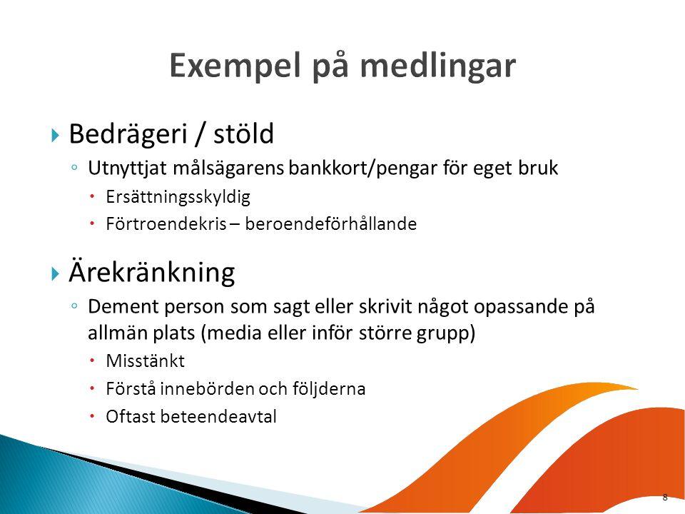 Exempel på medlingar Bedrägeri / stöld Ärekränkning