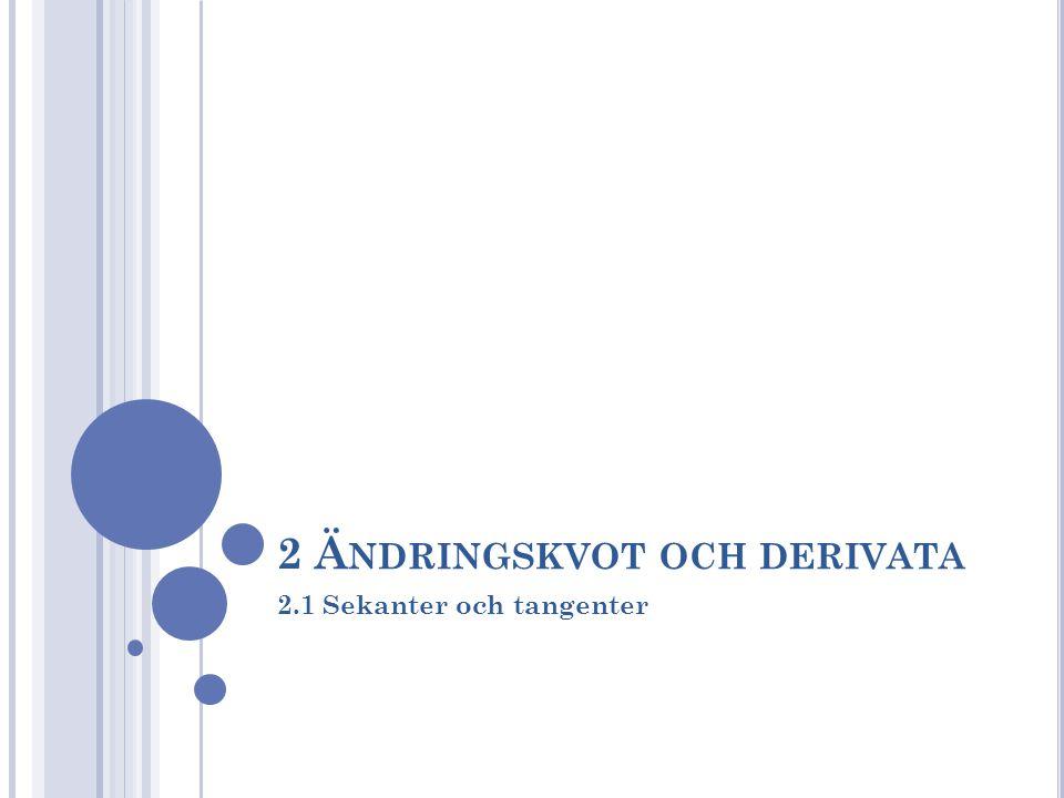 2 Ändringskvot och derivata