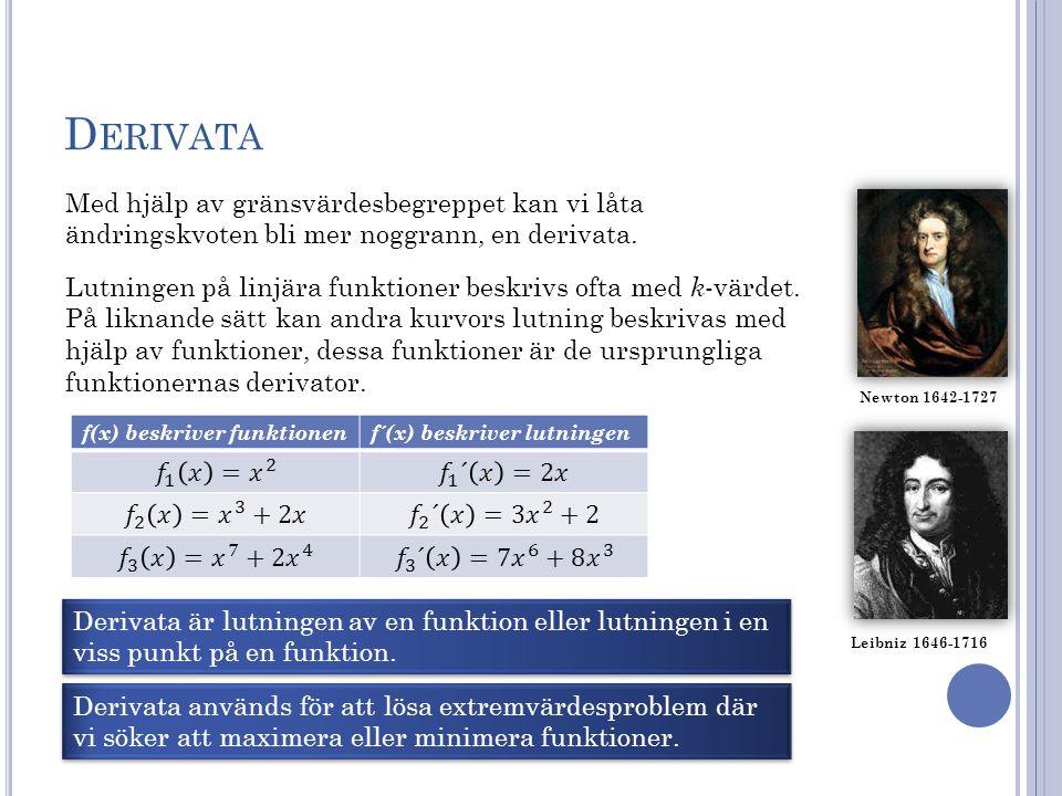 Derivata Med hjälp av gränsvärdesbegreppet kan vi låta ändringskvoten bli mer noggrann, en derivata.
