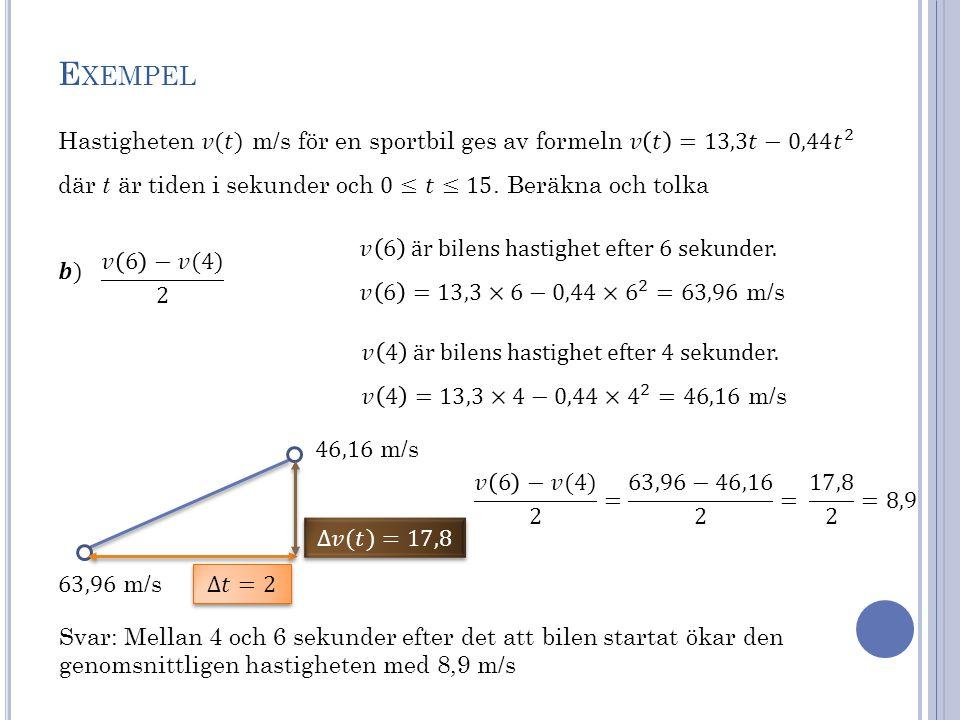 Exempel Hastigheten 𝑣(𝑡) m/s för en sportbil ges av formeln 𝑣 𝑡 =13,3𝑡−0,44 𝑡 2. där t är tiden i sekunder och 0≤𝑡≤15. Beräkna och tolka.