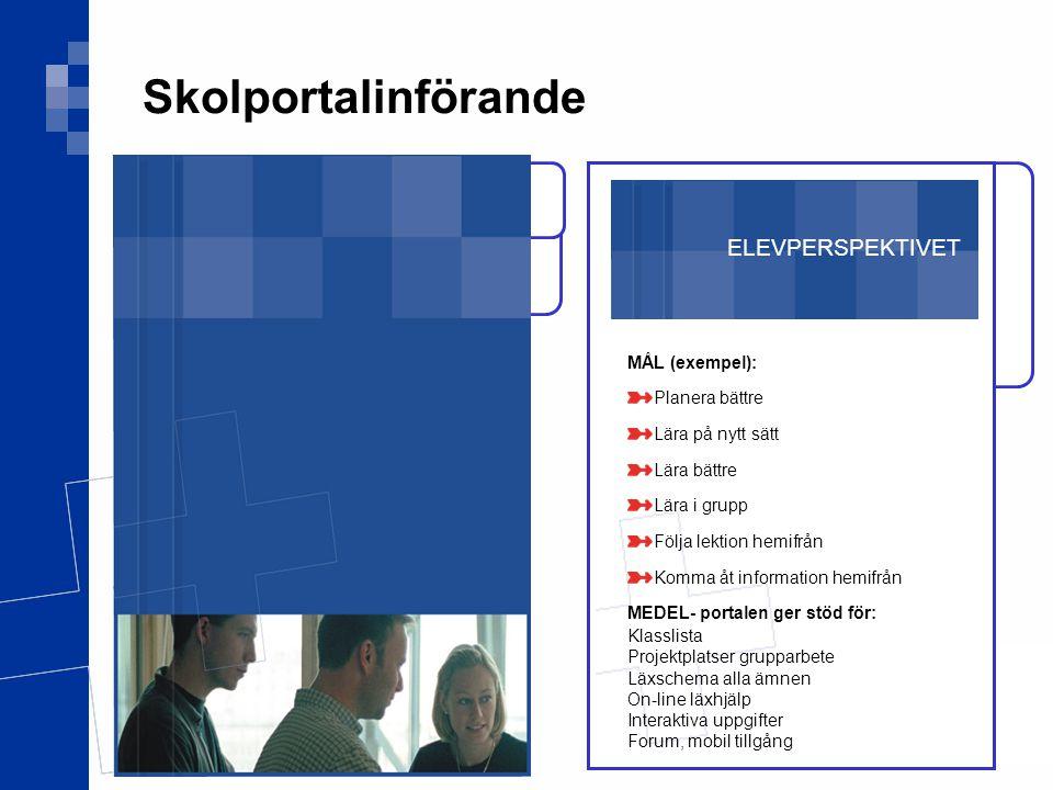 Skolportalinförande ELEVPERSPEKTIVET MÅL (exempel): Planera bättre