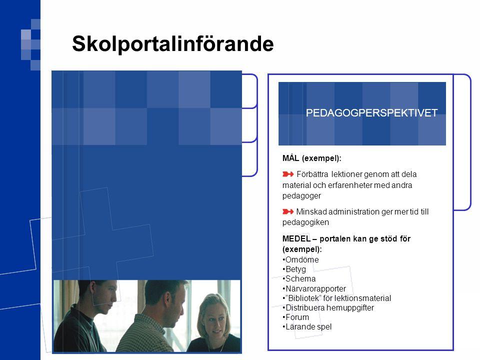 Skolportalinförande PEDAGOGPERSPEKTIVET MÅL (exempel):