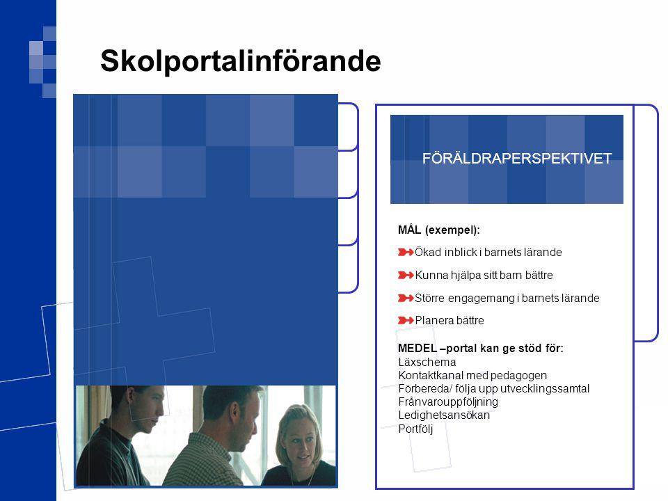 Skolportalinförande FÖRÄLDRAPERSPEKTIVET MÅL (exempel):