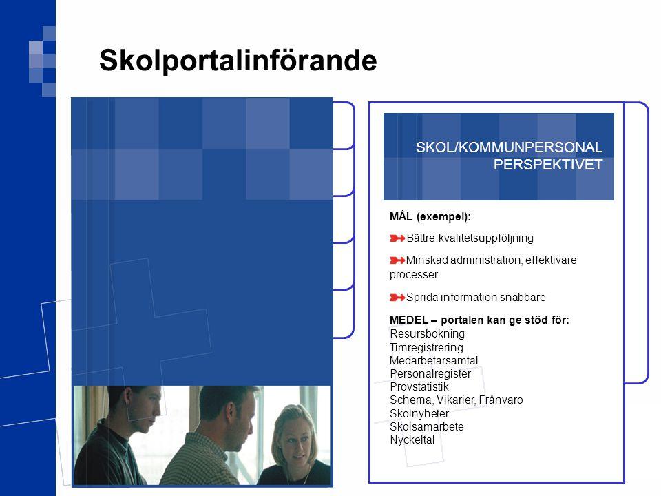 Skolportalinförande SKOL/KOMMUNPERSONAL PERSPEKTIVET MÅL (exempel):