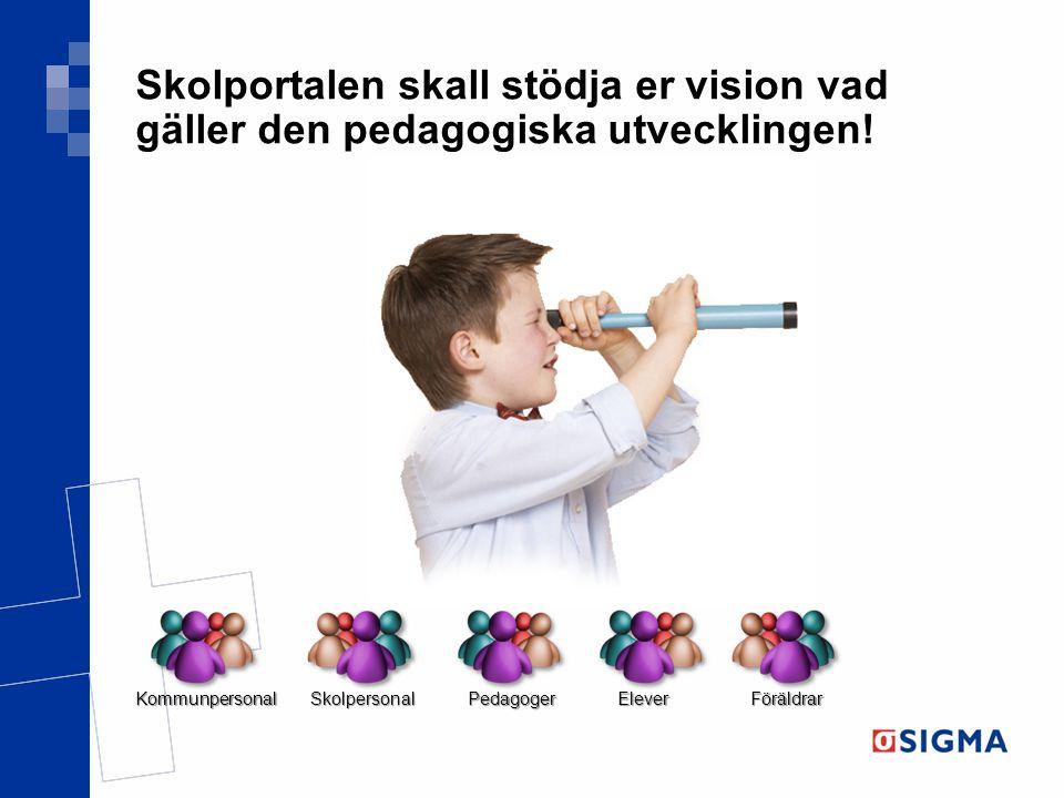 Skolportalen skall stödja er vision vad gäller den pedagogiska utvecklingen!