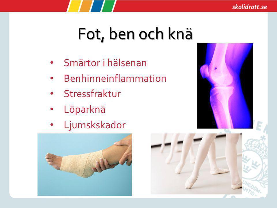 Fot, ben och knä Smärtor i hälsenan Benhinneinflammation Stressfraktur