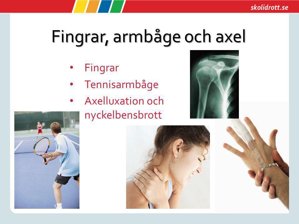 Fingrar, armbåge och axel