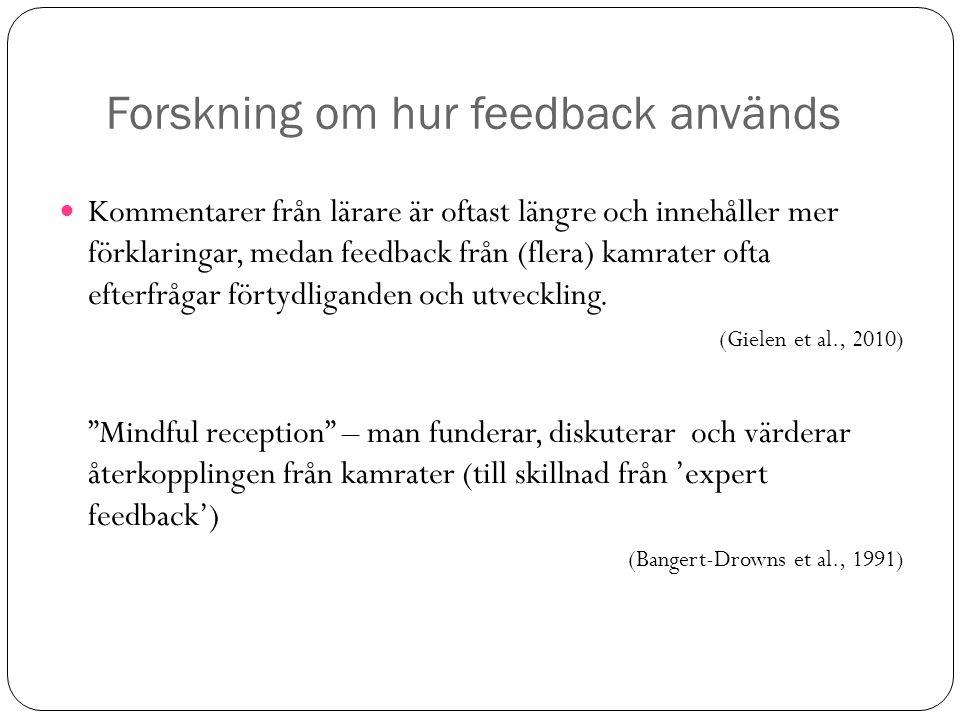Forskning om hur feedback används