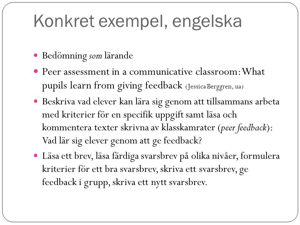 Konkret exempel, engelska