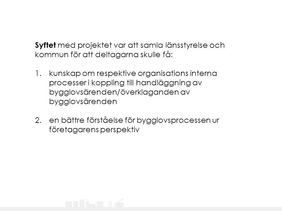 Syftet med projektet var att samla länsstyrelse och kommun för att deltagarna skulle få: