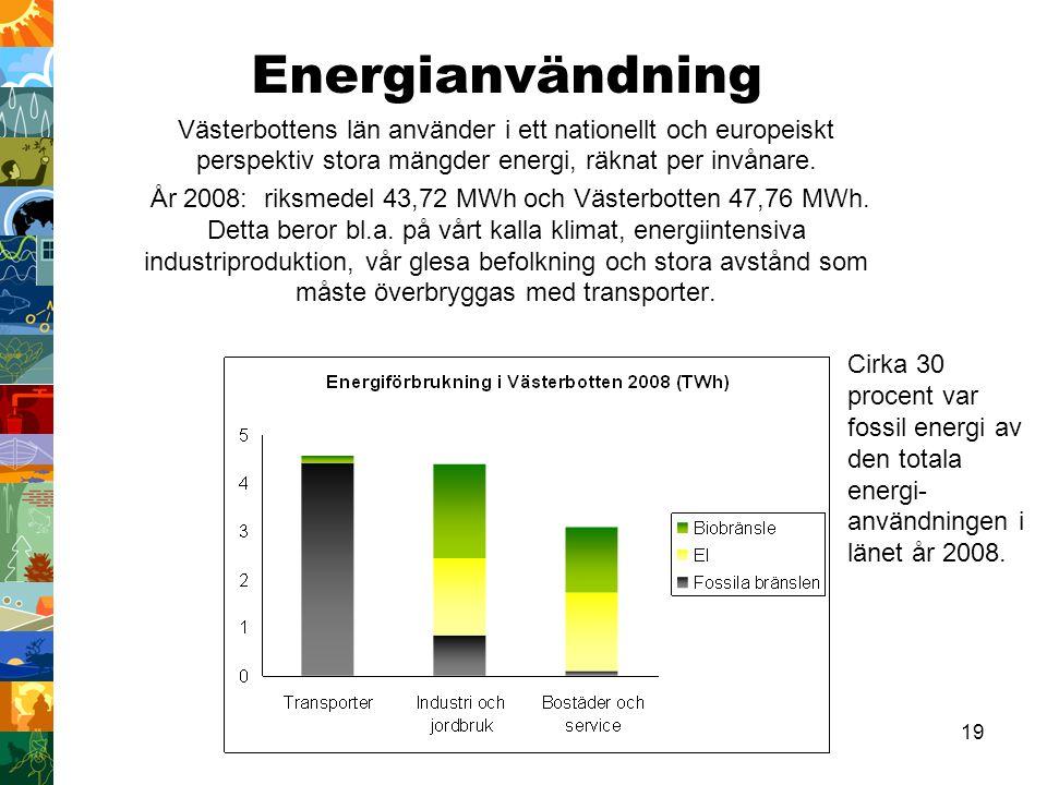 Energianvändning Västerbottens län använder i ett nationellt och europeiskt perspektiv stora mängder energi, räknat per invånare.