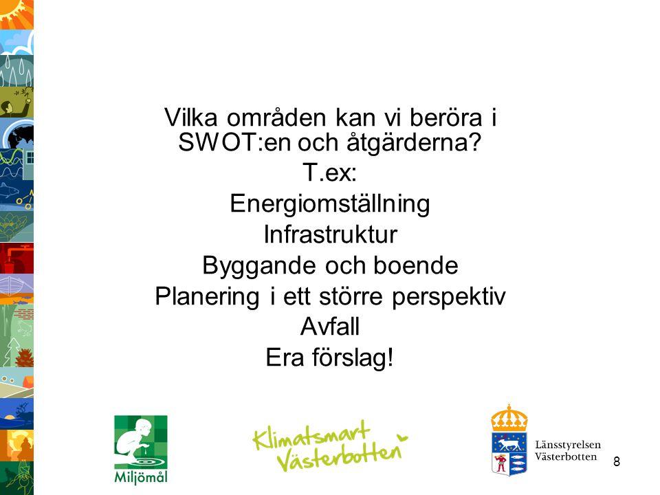 Vilka områden kan vi beröra i SWOT:en och åtgärderna T.ex: