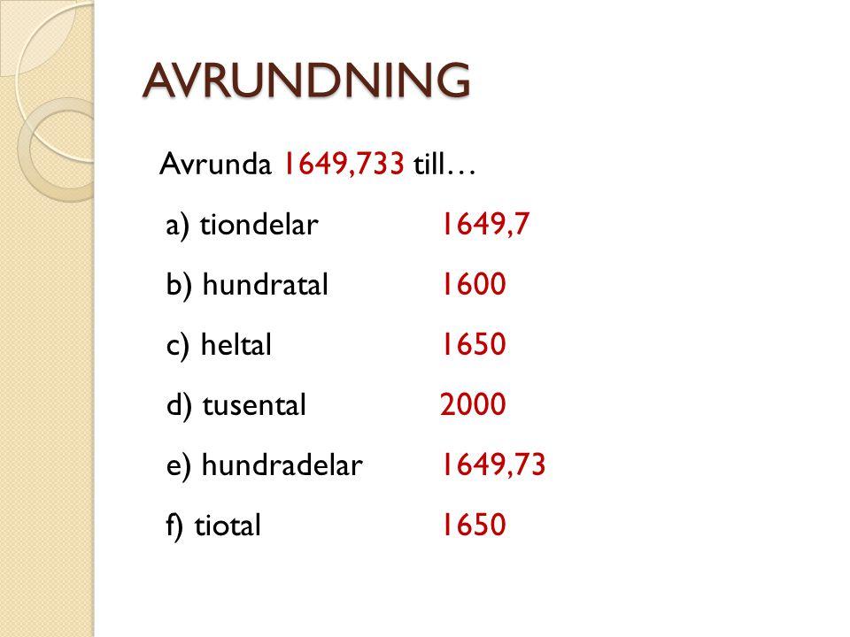 AVRUNDNING Avrunda 1649,733 till… a) tiondelar 1649,7 b) hundratal