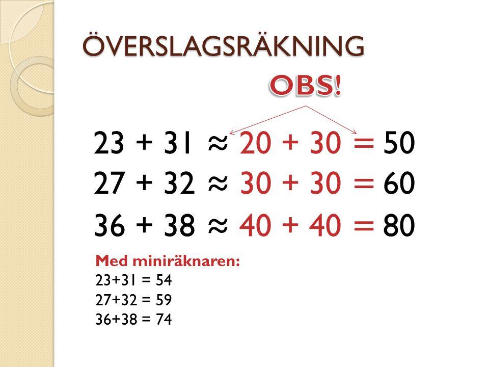 ÖVERSLAGSRÄKNING OBS! 23 + 31 ≈ 20 + 30 = 50. 27 + 32 ≈ 30 + 30 = 60. 36 + 38 ≈ 40 + 40 = 80.