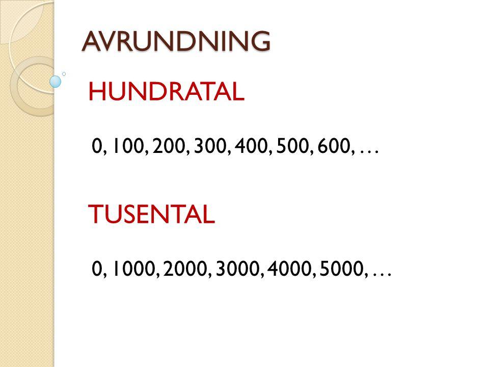AVRUNDNING HUNDRATAL TUSENTAL 0, 100, 200, 300, 400, 500, 600, …