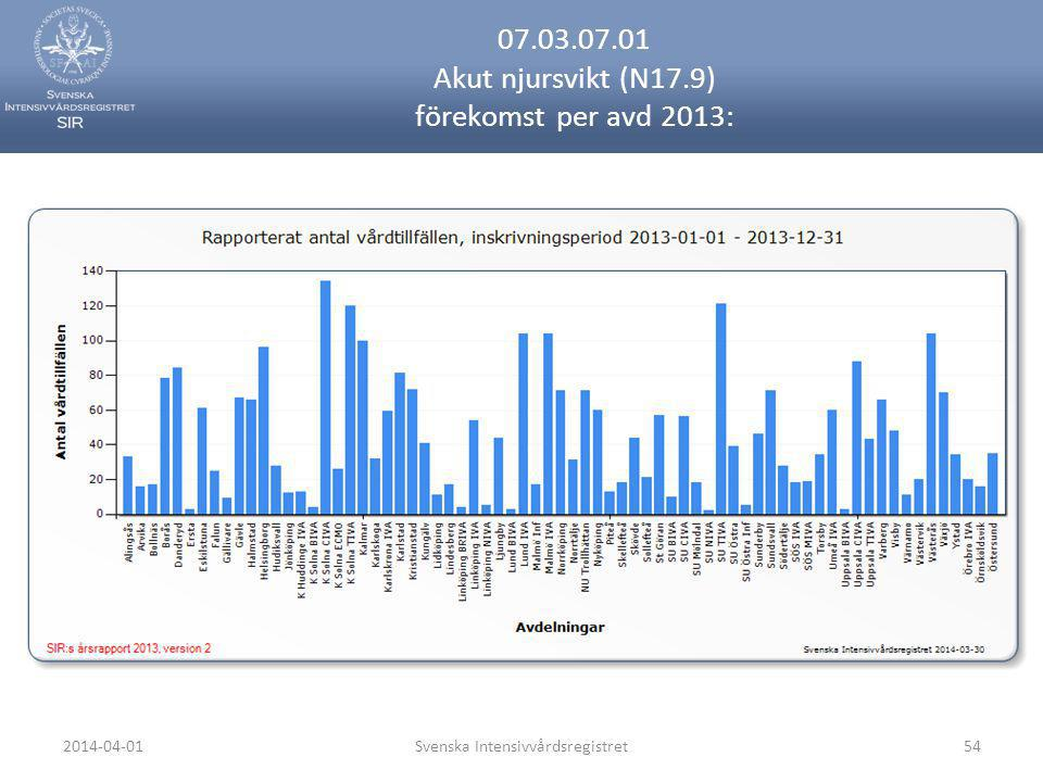 07.03.07.01 Akut njursvikt (N17.9) förekomst per avd 2013: