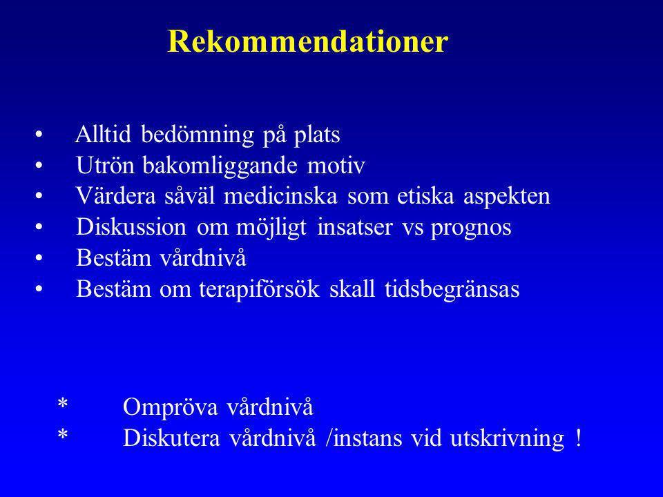 Rekommendationer Alltid bedömning på plats Utrön bakomliggande motiv