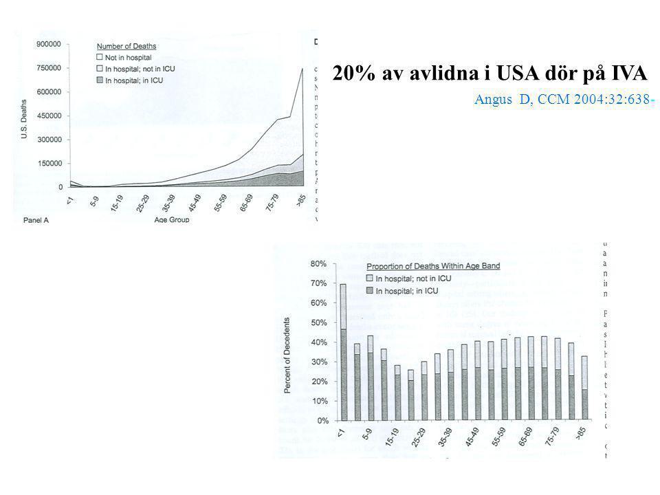 20% av avlidna i USA dör på IVA