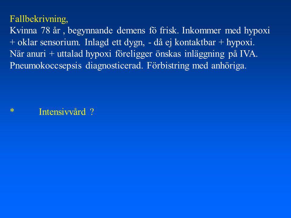 Fallbekrivning, Kvinna 78 år , begynnande demens fö frisk. Inkommer med hypoxi. + oklar sensorium. Inlagd ett dygn, - då ej kontaktbar + hypoxi.