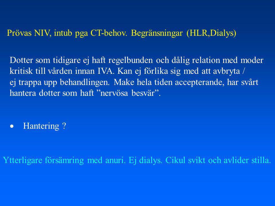 Prövas NIV, intub pga CT-behov. Begränsningar (HLR,Dialys)