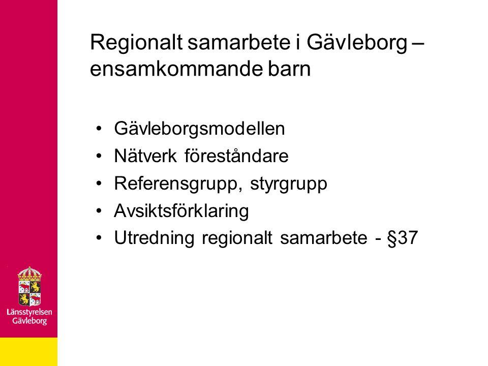 Regionalt samarbete i Gävleborg – ensamkommande barn