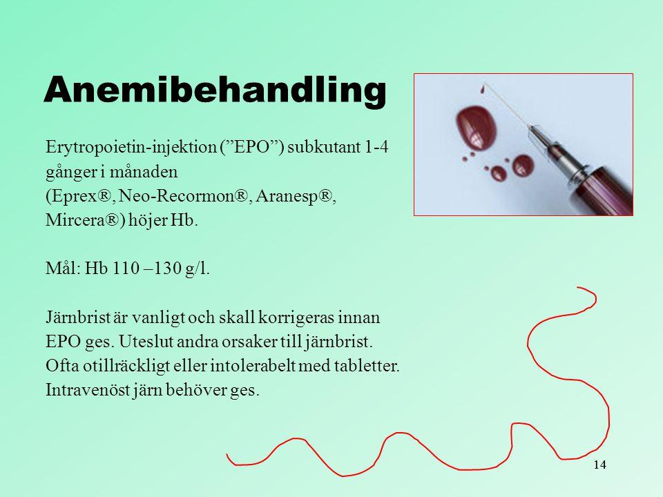 Anemibehandling Erytropoietin-injektion ( EPO ) subkutant 1-4