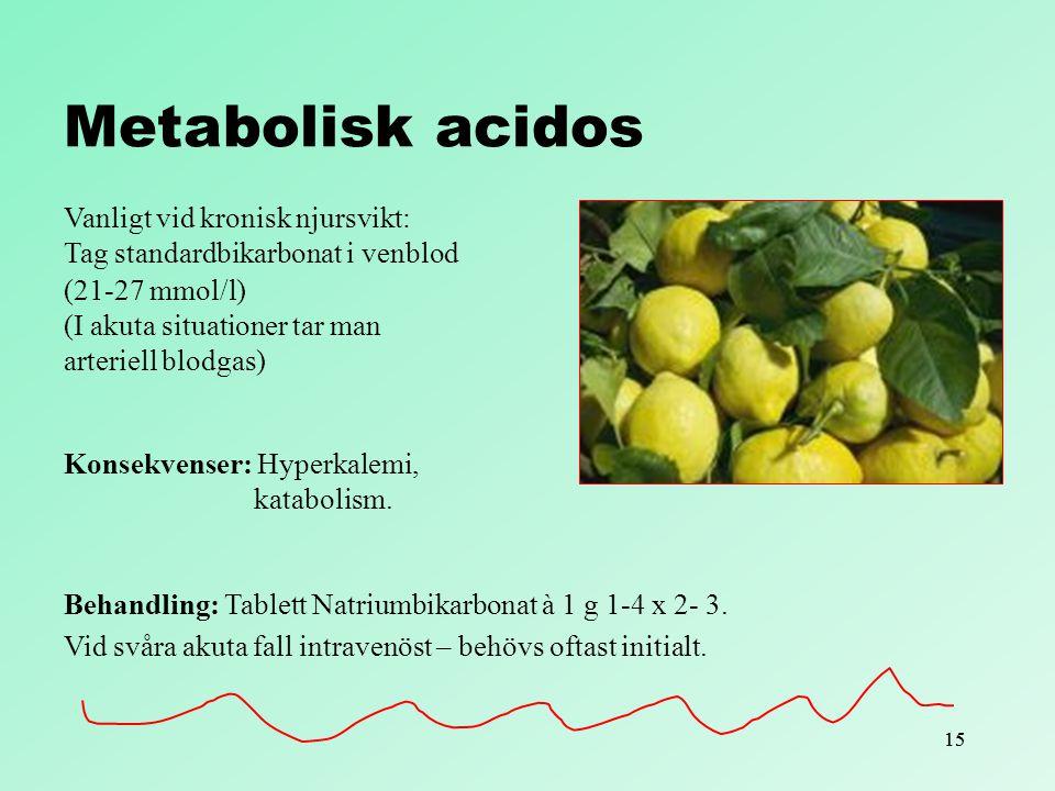 Metabolisk acidos Vanligt vid kronisk njursvikt: Tag standardbikarbonat i venblod. (21-27 mmol/l) (I akuta situationer tar man.