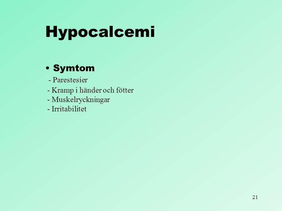 Hypocalcemi Symtom - Parestesier - Kramp i händer och fötter - Muskelryckningar - Irritabilitet