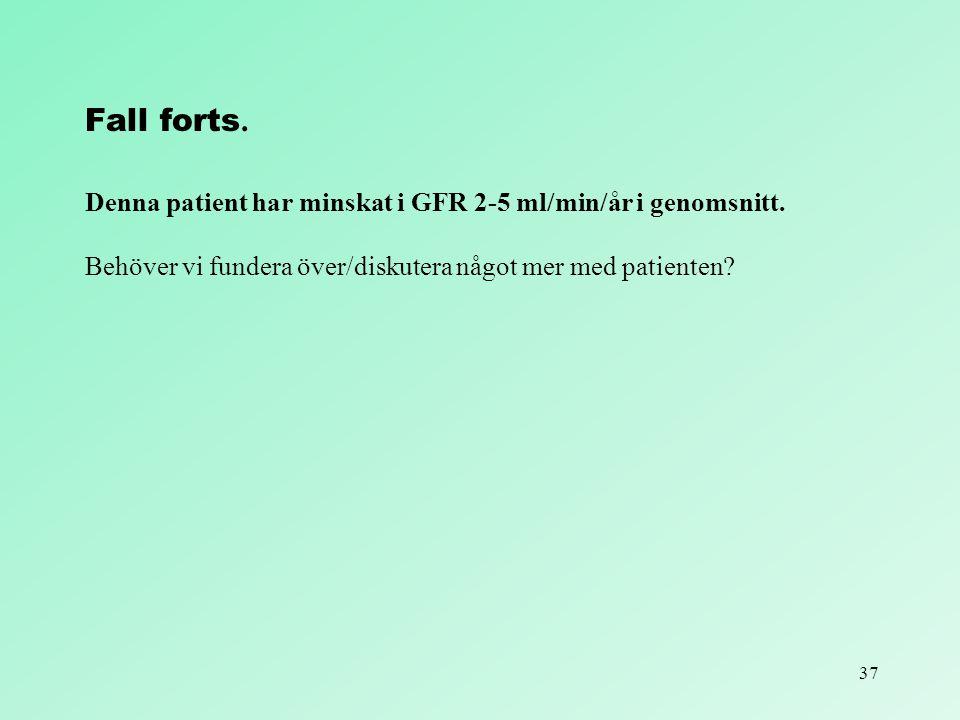Fall forts. Denna patient har minskat i GFR 2-5 ml/min/år i genomsnitt.