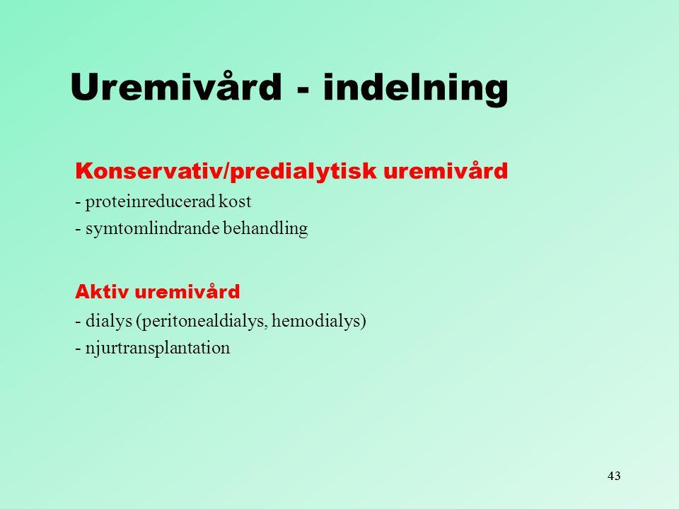 Uremivård - indelning Konservativ/predialytisk uremivård