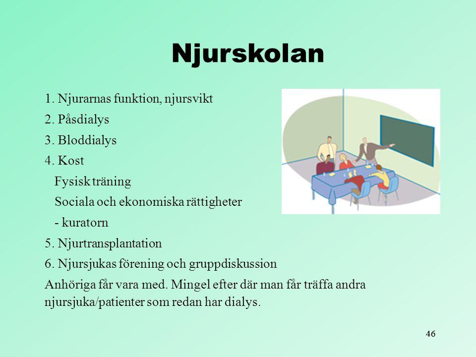 Njurskolan 1. Njurarnas funktion, njursvikt 2. Påsdialys 3. Bloddialys