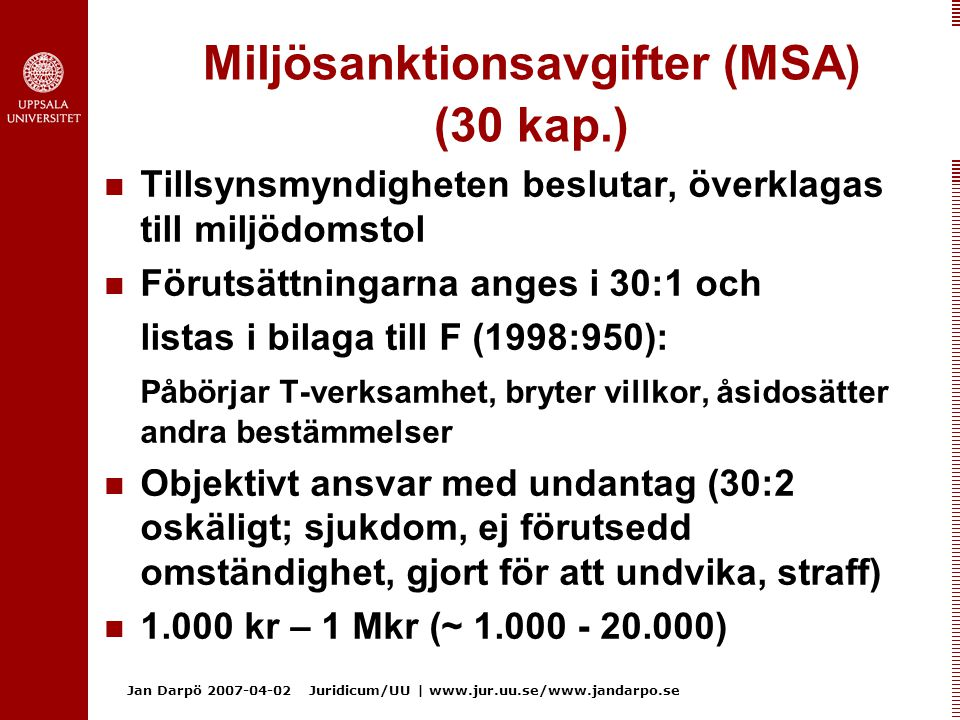 Miljösanktionsavgifter (MSA) (30 kap.)