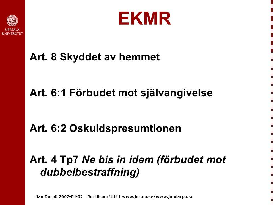 EKMR Art. 8 Skyddet av hemmet Art. 6:1 Förbudet mot självangivelse