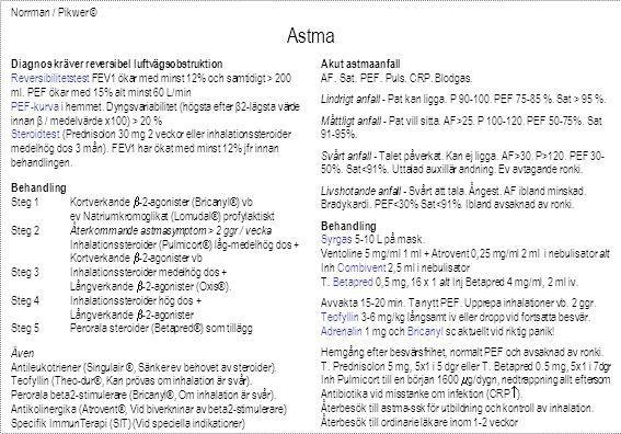 Astma Norrman / Pikwer © Diagnos kräver reversibel luftvägsobstruktion