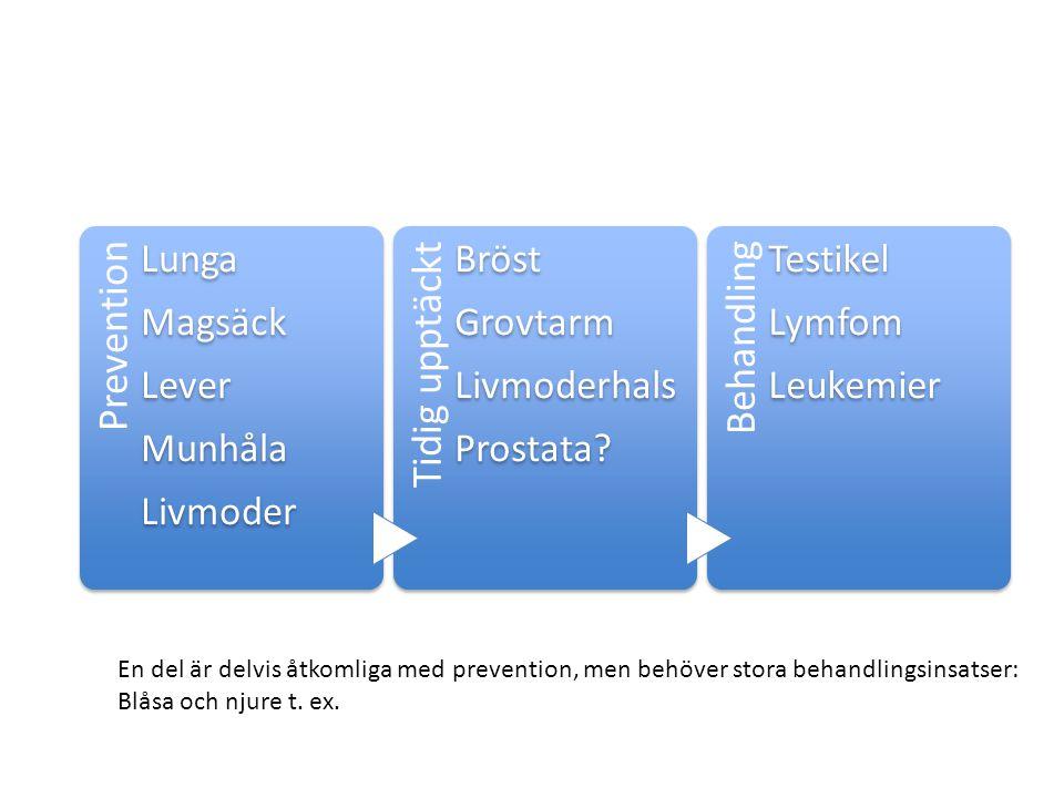 Prevention Lunga. Magsäck. Lever. Munhåla. Livmoder. Tidig upptäckt. Bröst. Grovtarm. Livmoderhals.