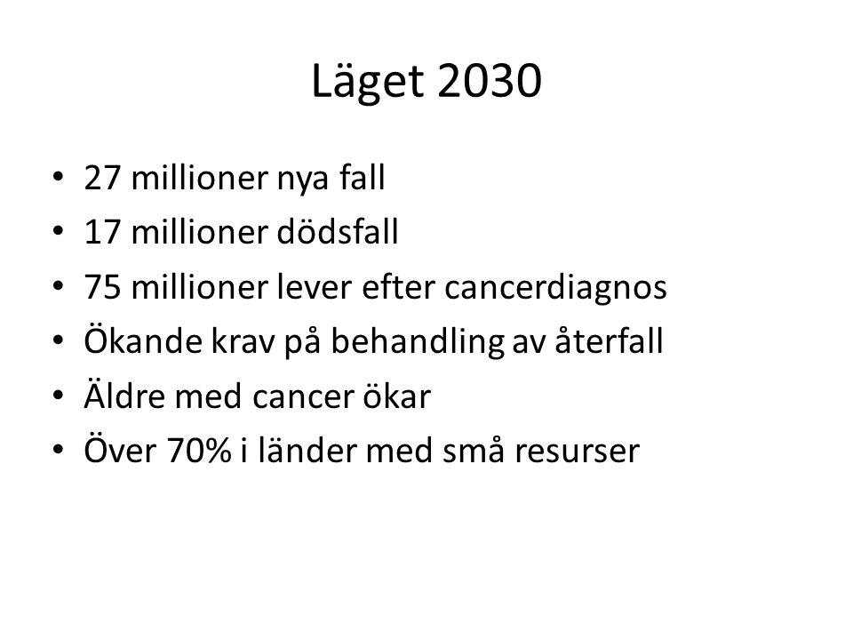 Läget 2030 27 millioner nya fall 17 millioner dödsfall