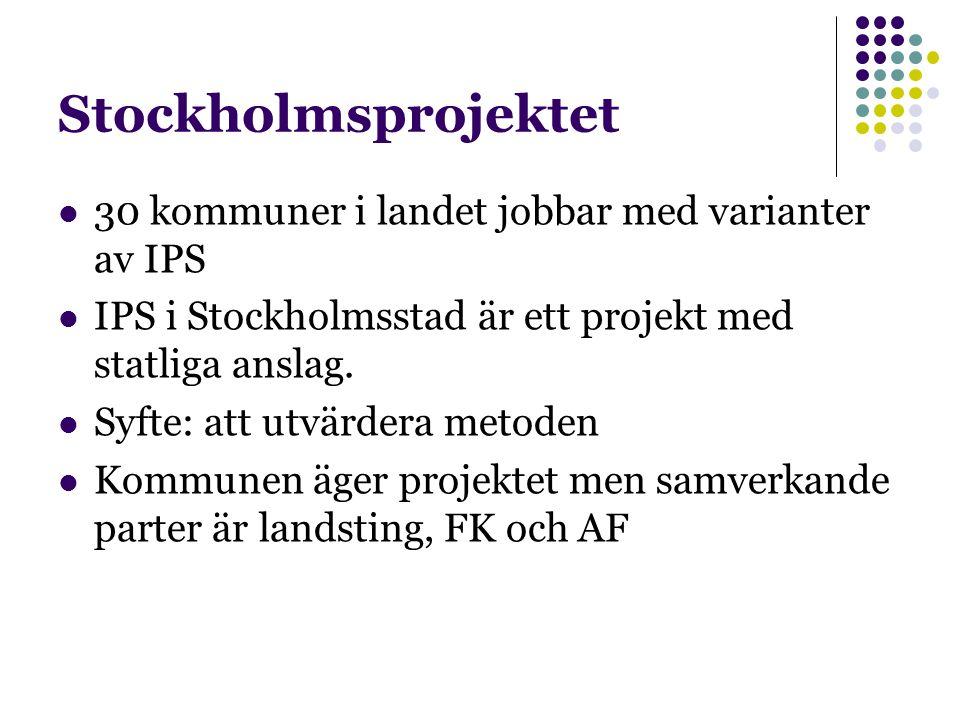 Stockholmsprojektet 30 kommuner i landet jobbar med varianter av IPS