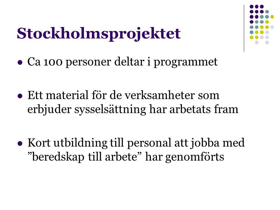 Stockholmsprojektet Ca 100 personer deltar i programmet