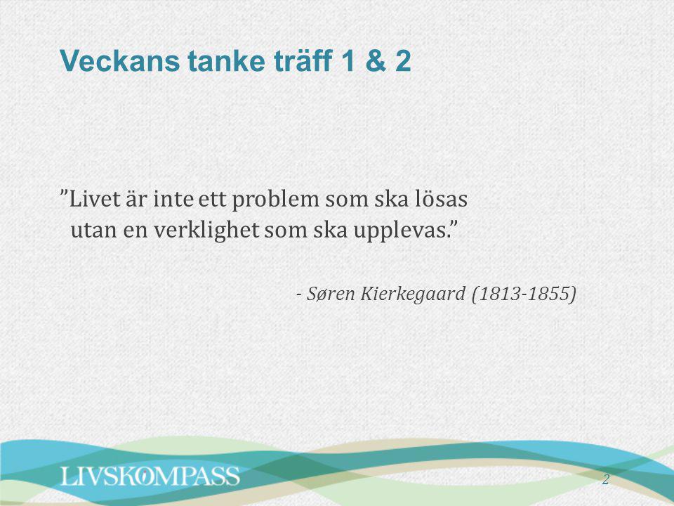 Veckans tanke träff 1 & 2 Livet är inte ett problem som ska lösas utan en verklighet som ska upplevas. - Søren Kierkegaard (1813-1855)
