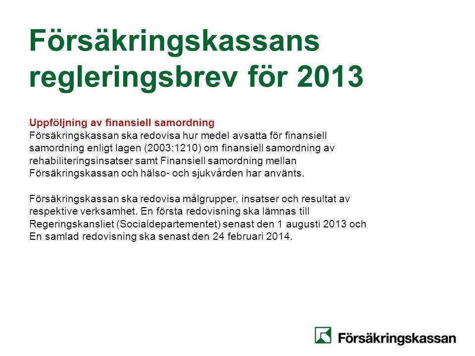 Försäkringskassans regleringsbrev för 2013