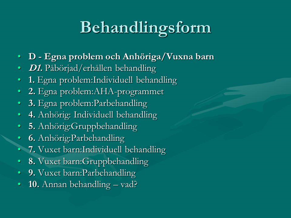 Behandlingsform D - Egna problem och Anhöriga/Vuxna barn