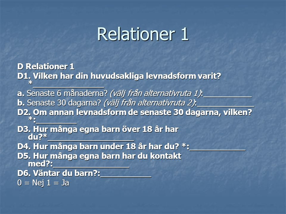 Relationer 1 D Relationer 1