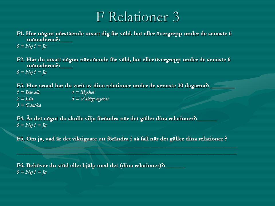 F Relationer 3 F1. Har någon närstående utsatt dig för våld. hot eller övergrepp under de senaste 6 månaderna :____.