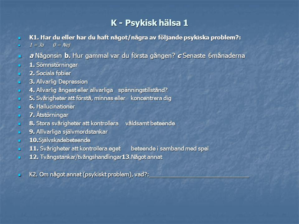 K - Psykisk hälsa 1 K1. Har du eller har du haft något/några av följande psykiska problem : 1 = Ja 0 = Nej.