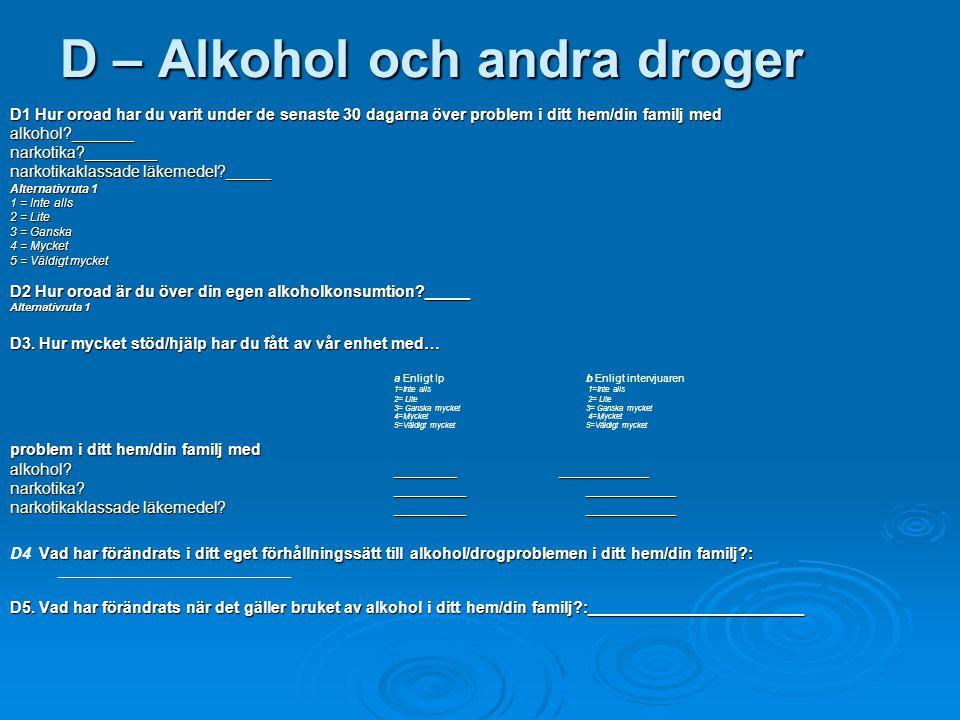 D – Alkohol och andra droger