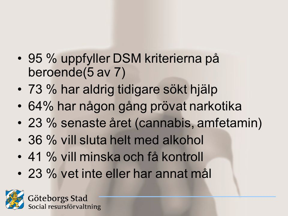 95 % uppfyller DSM kriterierna på beroende(5 av 7)